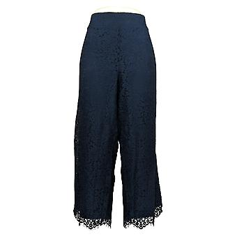 "Isaac Mizrahi En vivo! Mujeres""s pantalones pequeños pierna ancha punto encaje azul A375765"