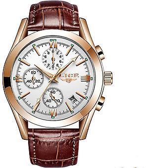 Business Leather Waterproof Quartz Watch(WHITE2)