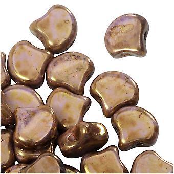 Czech Glass, 2-Hole Ginko Beads 7.5mm, 10 Grams, Chalk Senegal Brown