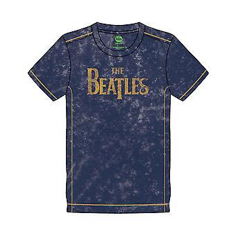 The Beatles T Shirt Drop T Band Logo nye officielle Herre Navy Blue Snow Wash