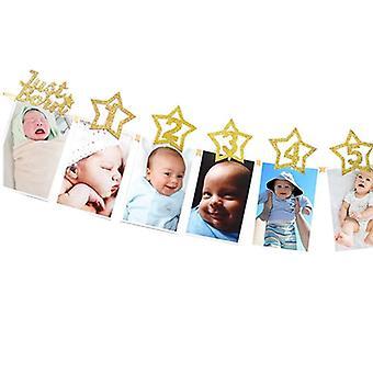 Vauva valokuva banneri leikkeellä, suihku kulta syntymäpäivä juhla koristeet, sarjakuva
