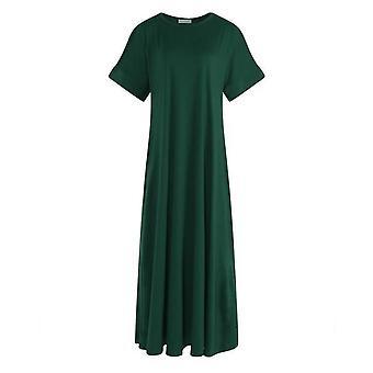 Сплошное круглое платье макси с половиной рукава