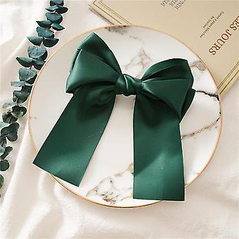Hair ring bow ribbon steel clip-multicolor
