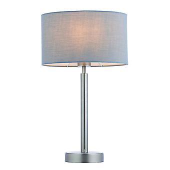 Lampe de table Plaque nickel mate, tissu gris abat-jour ovale avec prise USB