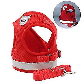 S حزام الأمان الأحمر والمقود مجموعة للصغار مع الرساة نوع الكلب حزام الأمان x2196