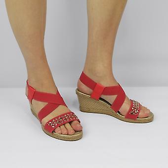 Shumo Marietta Ladies Strappy Wedge Heel Sandals Coral