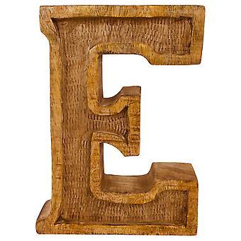 Bokstaven E Handsnidad trä präglad