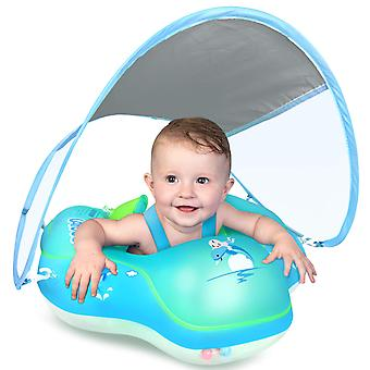 Baby Swimming Float Inflatable Baby Pool Float Ring Newest With Sun Protection Canopy,add Tail No Flip Over For Age Of 3-36 Months