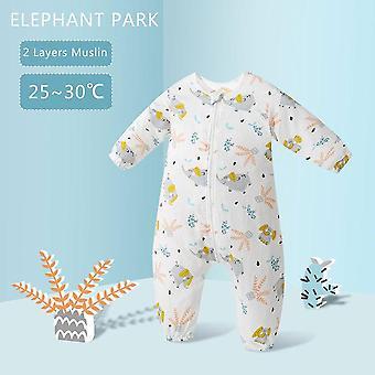 Happy flute baby pure cotton sleeping bag long sleeve winter cartoon split leg detachable sleeve thick warm fit 0~6 year baby
