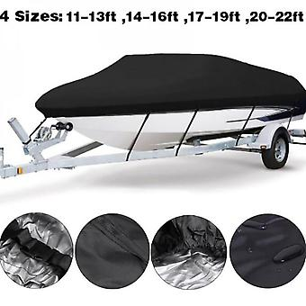 Mimigo Waterproof Trailerable Runabout Boat Cover Fit V-hull Tri-hull Fishing Ski Pro-style Bass Boats Waterproof Boat Cover Durable Heavy Duty Polyes