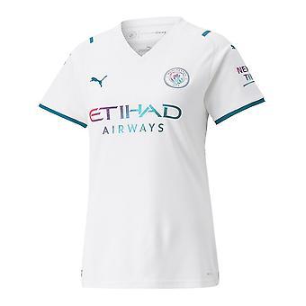 פומה מנצ'סטר סיטי 2021/22 נשים שרוול קצר משם חולצת כדורגל לבן