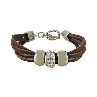 Brown Leather 3 Bead Multi Strand Bracelet