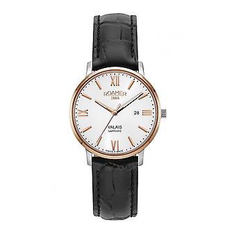 Roamer 958844 49 13 05 Women's Valais Black Leather Strap Wristwatch