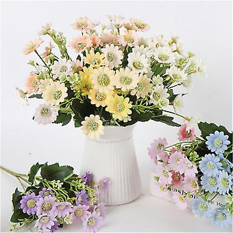 2pcs Household Simulated Flower Artificial Silk Flower 6 Forks Milan Chrysanthemum Photo Prop For Home (champagne)