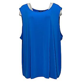 IMAN Global Chic Women's Plus Top Liquid Knit Tank Blue 737639