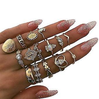 Golden Bohemian Ring 15 Sets
