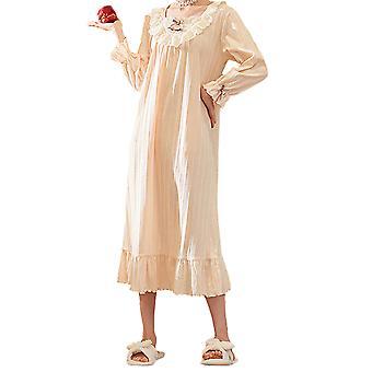 Silktaa גבירותיי לילה כותנה שרוולים ארוכים מוצק צבע ללבוש