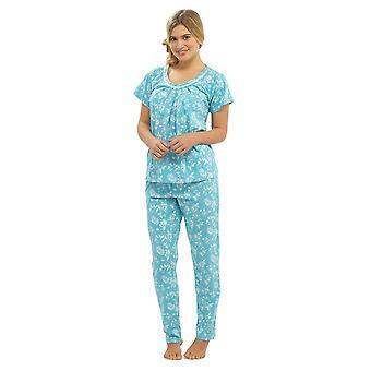 Naiset Walter Grange Kukka Painettu Jersey Polycotton Pyjama Pyjama Sleepwear - Sininen - 16-18