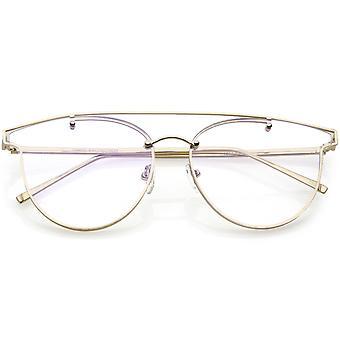Moderne Crossbar Horn umrandeten randlose Brillen klare Runde flache Objektiv 58mm