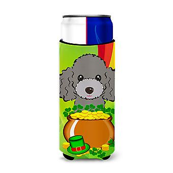 Silver Gray Poodle St. Patrick's Day Michelob Ultra beverage Insulator for slim