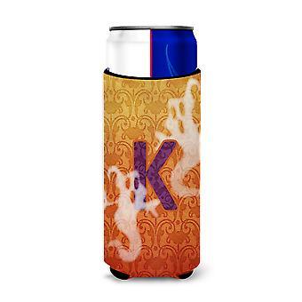 Halloween Ghosts Monogram Initial  Letter K Ultra Beverage Insulators for slim c