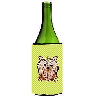 Checkerboard Lime Green Yorkie Yorkishire Terrier Wine Bottle Beverage Insulator