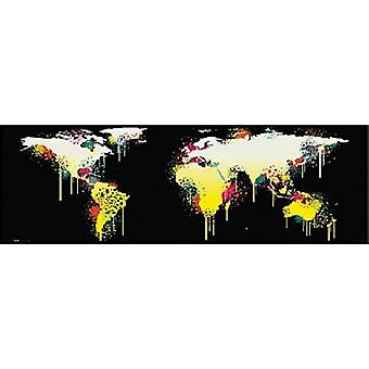 World Map Graffiti Style 12x36 Poster Poster Print