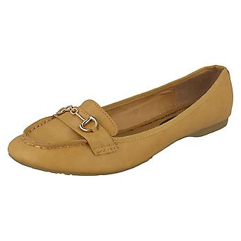 Ladies Spot On Loafer - Tan Synthetic - UK Size 8 - EU Size 41 - US Size 10