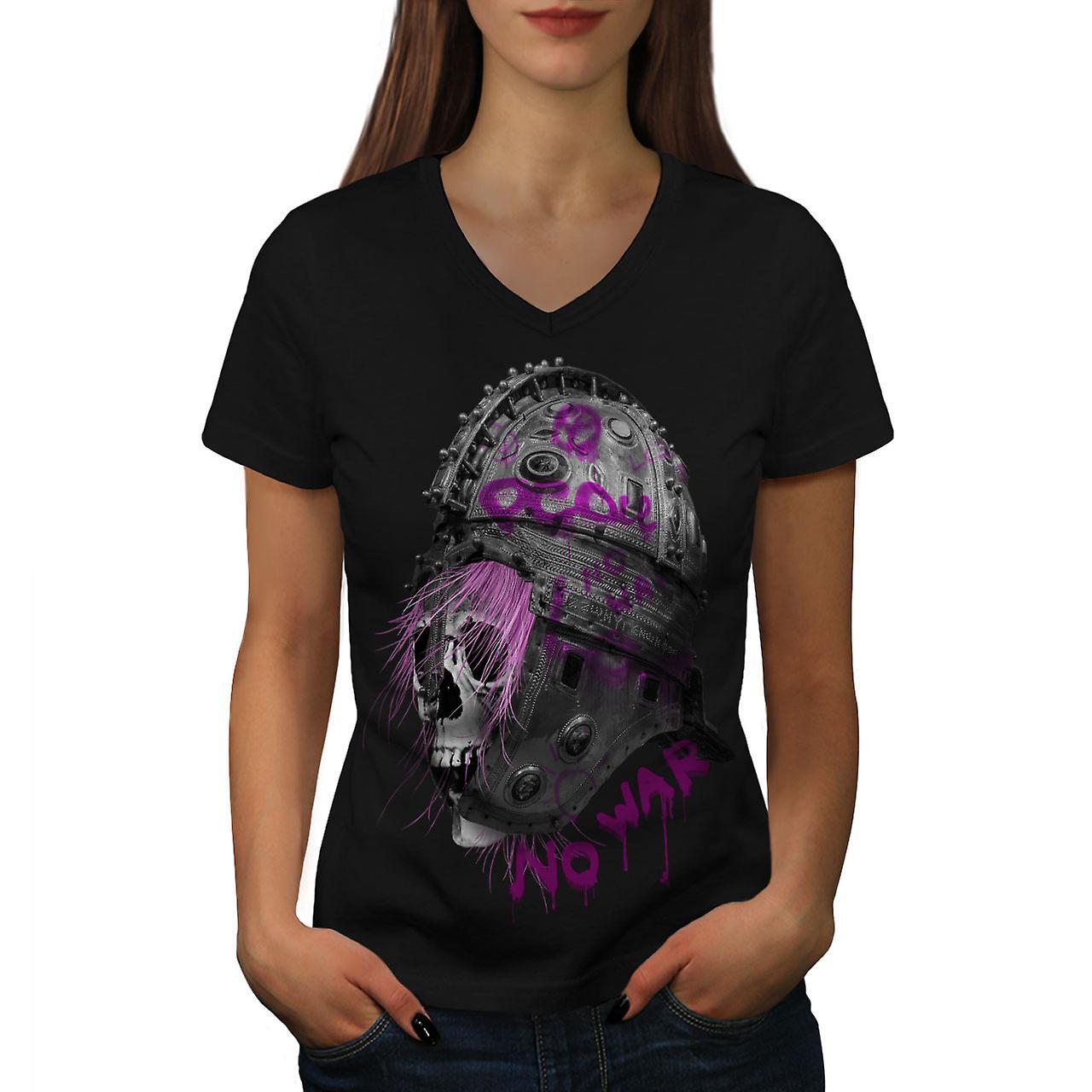 Helm Rock Skull femmes BlackV-Neck T-shirt de guerre | Wellcoda
