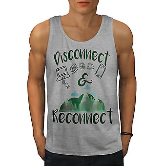 Disconect Reconect Men GreyTank Top | Wellcoda