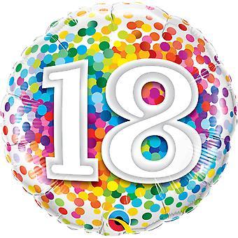 Folha de confetes de número 18 aniversário balão cerca de 45 cm
