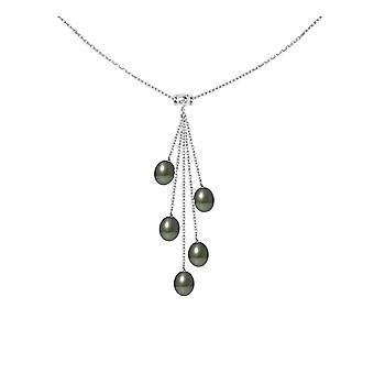 シルバー 925 の女は、タヒチの 5 真珠を首輪します。