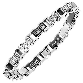 Iced uit roestvrij staal micro pave CZ armband - 10mm zilver