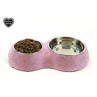 VALENTINA VALENTTI PET FEEDER CRYSTALLISED DOUBLE PET FOOD BOWL