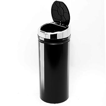 HOMCOM 42L LUXURY Automatic Sensor Dustbin Kitchen Waste Bin Rubbish Trashcan Auto Dustbin Stainless Steel with Bucket Black 30.5*30.5*76.5CM