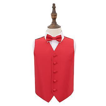 Gilet de mariage à carreaux solides rouges & Ensemble de noeud papillon pour les garçons