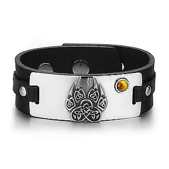 Azteken oude Keltische knopen Wolf Paw Amulet Tiger Eye Gemstone verstelbare zwart lederen armband