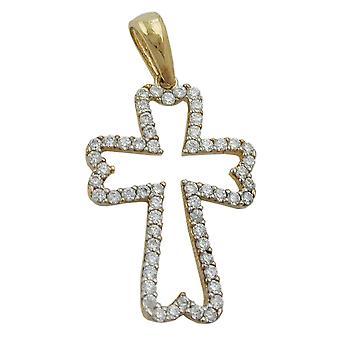 Croce pendente collana croce pendente, Croce, zirconi, 9 KT oro 375