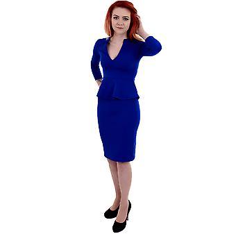 Naisten pitkähihainen V kaula Peplum hame polven pituus naisten pukeutuminen