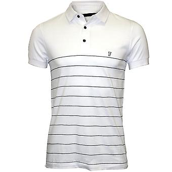 Frans Connection gestreepte Pique Polo Shirt, wit/Marine