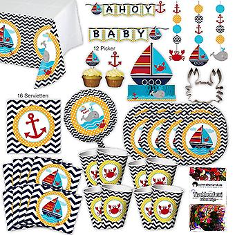 Small sailor sailor party set XL 67-teilig 8 guest sailor party birthday party package