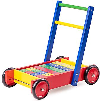 Tidlo Wooden Children's Baby walker with ABC Blocks Educational Walk Toys