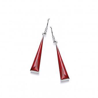 كافنديش الفرنسية فضة وشكلت جاسبر أحمر أقراط مثلث طويل