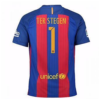 2016 / 17 Barcelona sponsoreret hjem skjorte (Ter Stegen 1) - børn