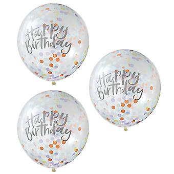 Pastel Party Happy Birthday Confetti Balloons x 5