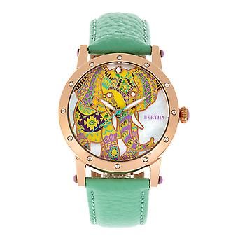 Bertha Betsy MOP Leather-Band Ladies Watch - Rose Gold/Mint