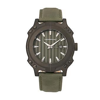 Morphischen M68 Serie Leder-Band Uhr w / Datum - schwarz/Olive