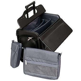 """A ruote caso pilota 17.3"""" Laptop Roller Bag Valigetta volo cabina bagaglio a mano di rotolamento"""