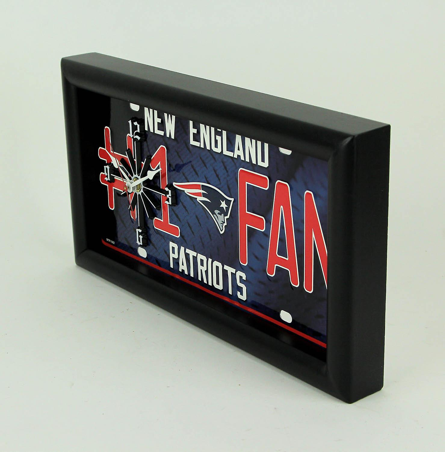 NFL New England Patriots Number 1 Football Fan License Plate Mantel Wall Cloc