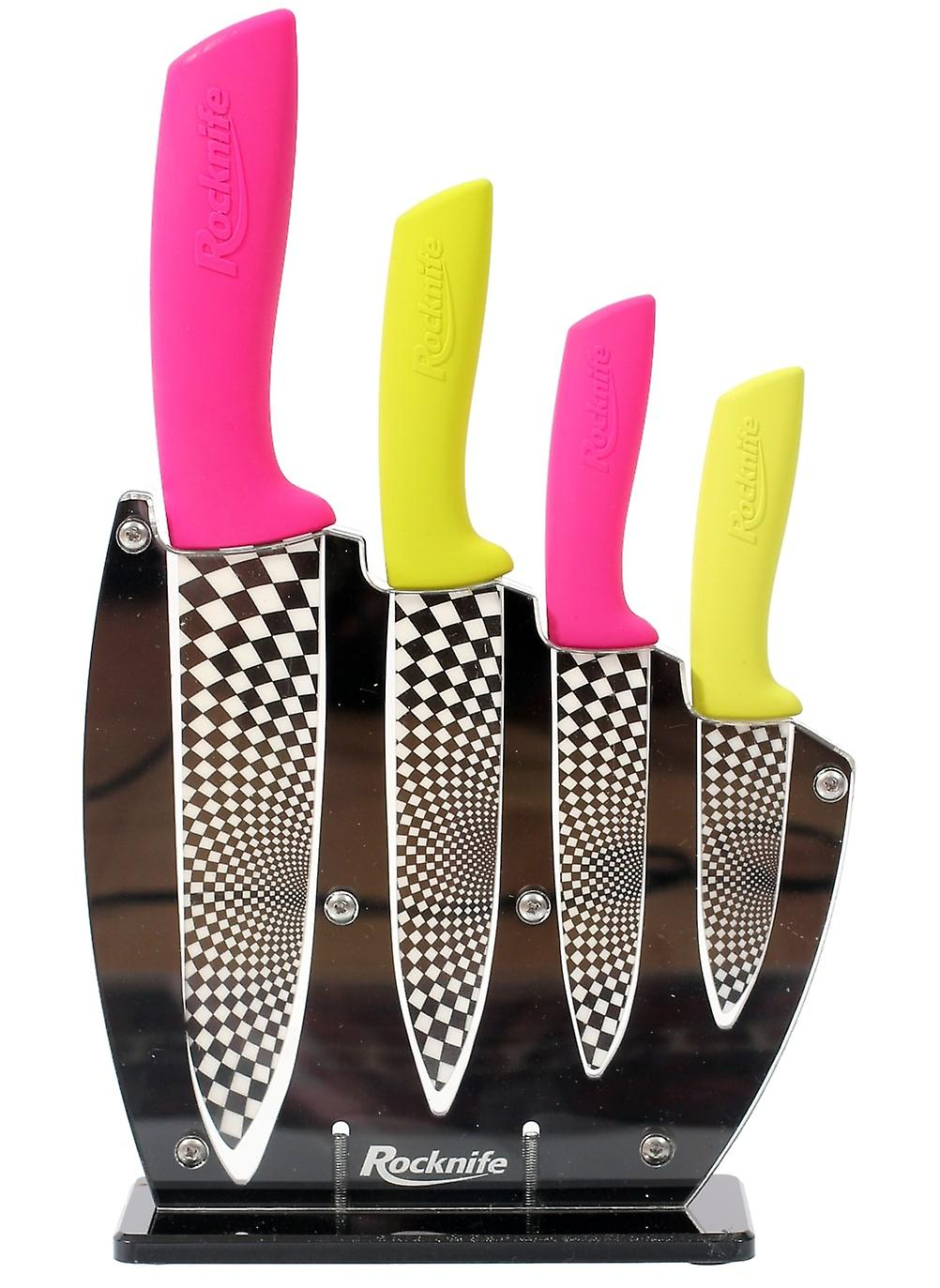 Pink and Lime Green Ceramic Knife Set